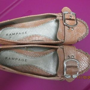 RAMPAGE SHOES, SIZE 8.5 M, PEACH BUCKLE FRONT,